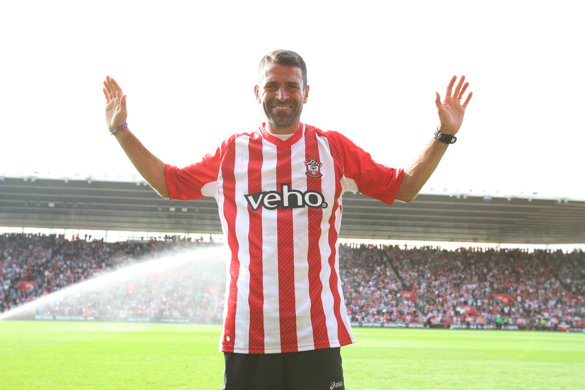 Ex Saint Francis Benali completes his 1000 mile charity run for Cancer Research UK- Barclays Premier League football - Southampton vs Newcastle United - St Mary's Stadium - Southampton - 13th September 2014 - Picture Matt Watson/Southampton FC