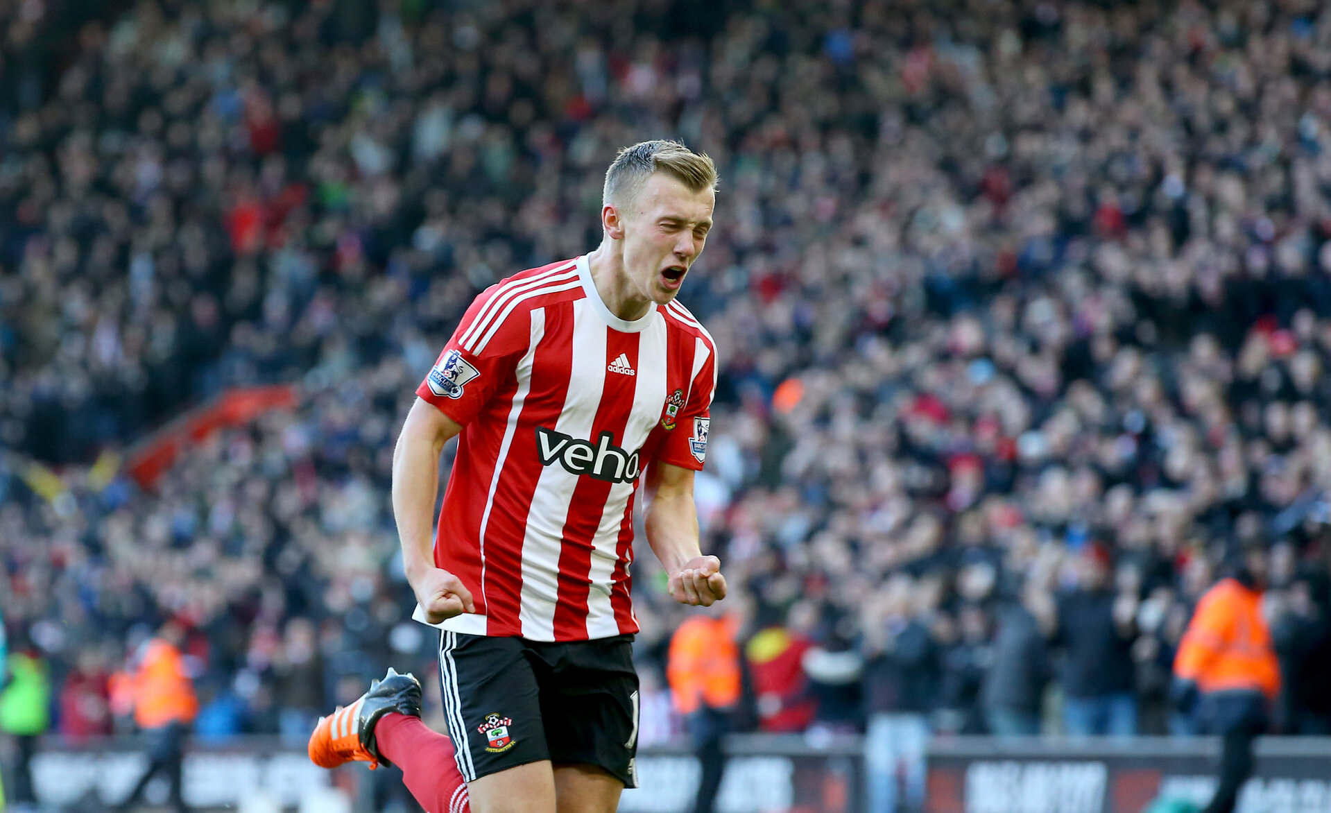 James Ward-Prowse celebrates during the Barclays Premier League match between Southampton and West Bromwich Albion at St Mary's Stadium, Southampton, England on 16 January 2016.
