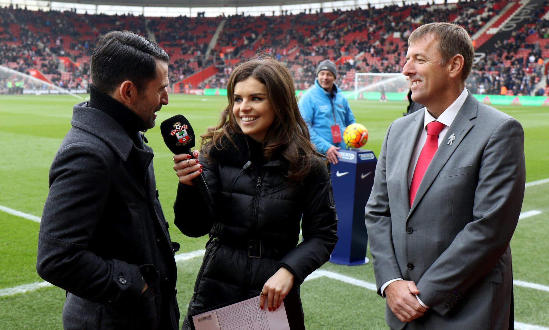 Francis Benali, Kenzie Benali and Matt Le Tissier during the Barclays Premier League match between Southampton and Chelsea at St Mary's Stadium, Southampton, England on 27 February 2016.
