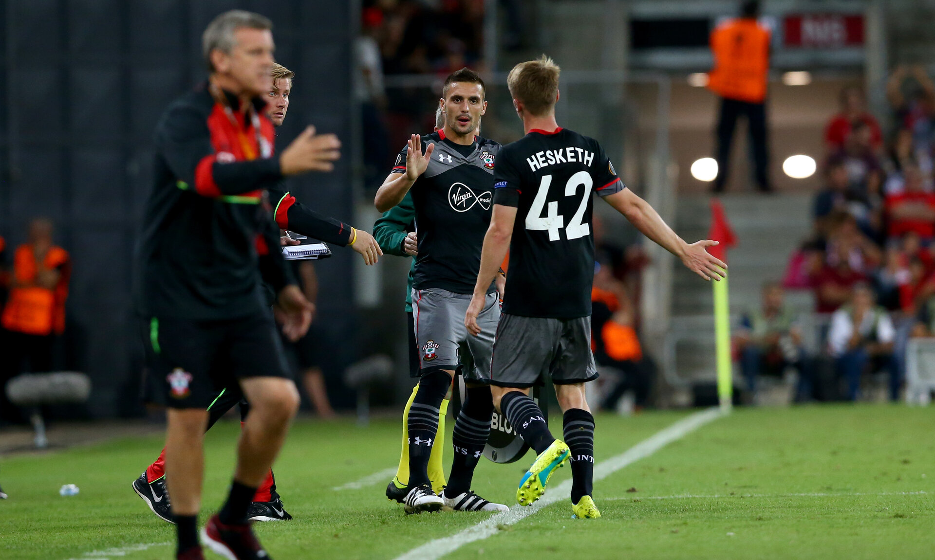 Dusan Tadic comes on for Jake Hesketh  during the UEFA Europa League match between Hapoel Be'er Sheva F.C. and Southampton at Turner Stadium, Beersheba, Israel on 29 September 2016. Photo by Matt  Watson/SFC/Digital South.