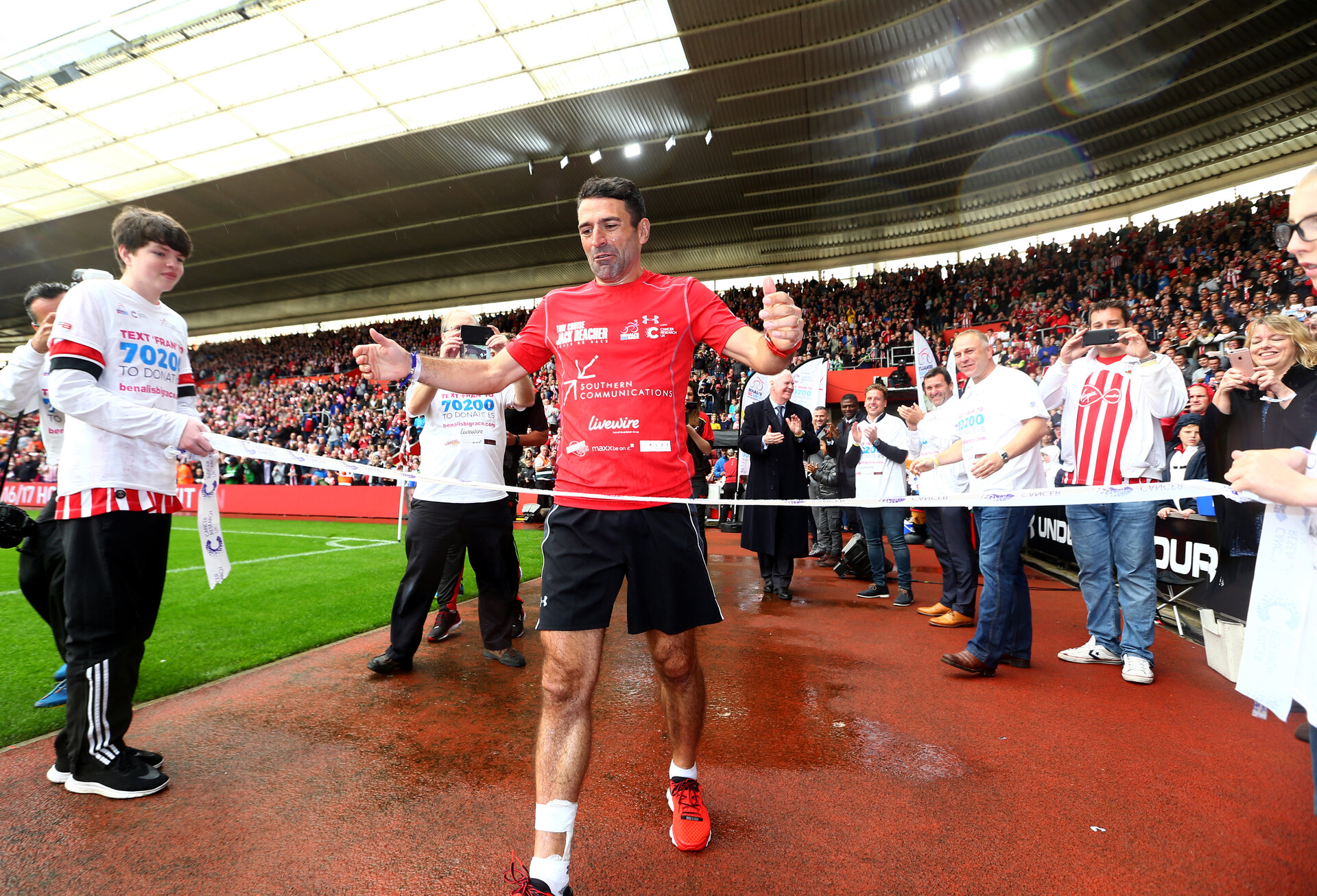 Francis Benali after completing his epic running and cycling challenge in aid of Cancer Research UK, during the Premier League match between Southampton and Burnley at St Mary's Stadium, Southampton, England on 16 October 2016. Photo by Matt Watson/SFC/Digital South.