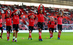 Players warm up during the Premier League match between Southampton and Chelsea at St Mary's Stadium, Southampton, England on 30 October 2016. Photo by Matt Watson/SFC/Digital South.