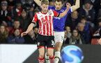 Josh Sims (Southampton) and Leighton Baines (Everton) battle for the ball during the Premier League match between Southampton and Everton at St. Mary's Stadium on 27 November 2016. Photo by Michael Jones/Digital South