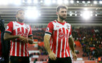 Ryan Bertrand(left) and Charlie Austin during the Premier League match between Southampton and Everton at St Mary's Stadium, Southampton, England on 27 November 2016. Photo by Matt  Watson/SFC/Digital South.