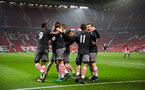 team celebrate after thomas o'connor during Southampton FC U18 v Manchester United U18 in the FA youth cup, at Old Trafford, Manchester, 12th December 2016, pic by Naomi Baker/Southampton FC