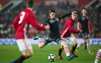 will smallbone scores during Southampton FC U18 v Manchester United U18 in the FA youth cup, at Old Trafford, Manchester, 12th December 2016, pic by Naomi Baker/Southampton FC