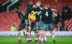 team celebrate at the full time whistle during Southampton FC U18 v Manchester United U18 in the FA youth cup, at Old Trafford, Manchester, 12th December 2016, pic by Naomi Baker/Southampton FC