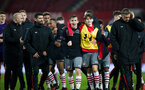jake vokins and harrison davis celebrate during Southampton FC U18 v Manchester United U18 in the FA youth cup, at Old Trafford, Manchester, 12th December 2016, pic by Naomi Baker/Southampton FC