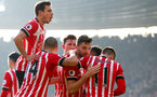 Cedric celebrates with his team mates after Jay Rodriguez scores during the Premier League match between Southampton and Leicester City at St Mary's Stadium, Southampton, England on 21 January 2017. Photo by Matt Watsonr/SFC/Digital South.