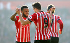 Ryan Bertrand celebrates with Jay Rodriguez during the Premier League match between Southampton and Leicester City at St Mary's Stadium, Southampton, England on 21 January 2017. Photo by Naomi Baker/SFC/Digital South.
