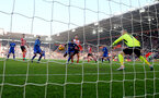 The ball finds the net but Maya Yoshida is ruled offside during the Premier League match between Southampton and Leicester City at St Mary's Stadium, Southampton, England on 21 January 2017. Photo by Matt Watsonr/SFC/Digital South.