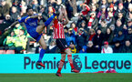 Jay Rodriguez(right) protects himself from a high foot from Danny Simpson during the Premier League match between Southampton and Leicester City at St Mary's Stadium, Southampton, England on 21 January 2017. Photo by Matt Watsonr/SFC/Digital South.