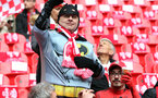 LONDON, UK, 26TH FEBRUARY, 2017. Southampton fans get in the spirit before the EFL Cup Final match between Manchester United and Southampton at Wembley Stadium, London, England on 26 February 2017. Photo by Michael Jones/Digital South.