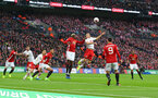 Oriol Romeu(right) jumps with Paul Pogba during the EFL Cup Final match between Manchester United and Southampton at Wembley Stadium, London, England on 26 February 2017. Photo by Matt Watson/SFC/Digital South.