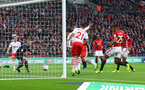Manolo Gabbiadini scores but is ruled offside during the EFL Cup Final match between Manchester United and Southampton at Wembley Stadium, London, England on 26 February 2017. Photo by Matt Watson/SFC/Digital South.