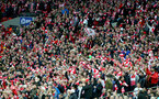 Saints fans during the EFL Cup Final match between Manchester United and Southampton at Wembley Stadium, London, England on 26 February 2017. Photo by Matt Watson/SFC/Digital South.