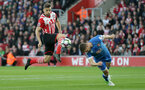 Jay Rodriguez (Southampton) and Simon Francis (Bournemouth) battle for the ball during the Premier League match between Southampton and Bournemouth at St Mary's Stadium, Southampton, England on 1 April 2017.
