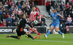Shane Long (Southampton) can't beat Artur Boruc (Bournemouth) during the Premier League match between Southampton and Bournemouth at St Mary's Stadium, Southampton, England on 1 April 2017.