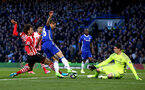 Manolo Gabbiadini looks to score during the Premier League match between Chelsea and Southampton at Stamford Bridge, London. Photo by Matt Watson/SFC/Digital South.