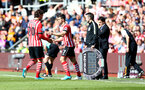 Shane Long replaces Manolo Gabbiadini during the Premier League match between Southampton and Hull City at St Mary's Stadium, Southampton, England on 29 April 2017. Photo by Matt Watson/SFC/Digital South.