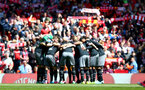 Saints players huddle together during the Premier League match between Liverpool and Southampton at Anfield, Liverpool. Photo by Matt Watson/SFC/Digital South.