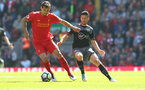 Dejan Lovren(left) and Shane Long during the Premier League match between Liverpool and Southampton at Anfield, Liverpool. Photo by Matt Watson/SFC/Digital South.