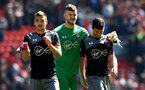 L to R, Dusan Tadic, Fraser Forster and Shane Long during the Premier League match between Liverpool and Southampton at Anfield, Liverpool. Photo by Matt Watson/SFC/Digital South.