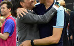 Barcelona's coach Luis Enrique (L) greets Deportivo Alaves' Argentinian coach Mauricio Pellegrino before the Spanish Copa del Rey (King's Cup) final football match FC Barcelona vs Deportivo Alaves at the Vicente Calderon stadium in Madrid on May 27, 2017. / AFP PHOTO / ANDER GILLENEA        (Photo credit should read ANDER GILLENEA/AFP/Getty Images)