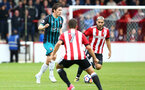 Pierre-Emile Hojbjerg during the pre-season friendly between Brentford FC(red/white) and Southampton FC(black), at Griffin Park Stadium, Brentford, London, 22nd July 2017