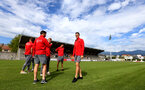 Players inspect the pitch during a pre season friendly between St Etienne(white) and Southampton FC(black), at The Stade Municipal de Chambéry, France, 29th July 2017