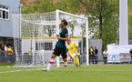 Manolo Gabbiadini scores during a pre season friendly between St Etienne(white) and Southampton FC(black), at The Stade Municipal de Chambéry, France, 29th July 2017