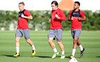 Steven Davis(left), Pierre Emile-Hojbjerg and Sofiane Boufal(right) during a Southampton FC pre season training session at the Staplewood Campus, Southampton, 31st July 2017