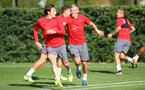 Pierre-Emile Hojbjerg(left) and James Ward-Prowse during a Southampton FC pre season training session at the Staplewood Campus, Southampton, 31st July 2017