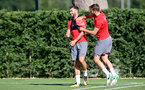 Charlie Austin(left) and Jack Stephens during a Southampton FC pre season training session at the Staplewood Campus, Southampton, 31st July 2017