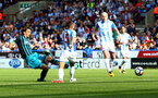 HUDDERSFIELD, ENGLAND - AUGUST 26: Southampton's Manolo Gabiadinni shoots at goal during the Premier League match between Huddersfield Town and Southampton at the John Smith Stadium on August 26, 2017 in Huddersfield, England. (Photo by Matt Watson/Southampton FC via Getty Images)