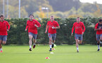 SOUTHAMPTON, ENGLAND - SEPTEMBER 28: L to R, Manolo Gabbiadini, Pierre-Emile Hojbjerg, James Ward-Prowse, Jeremy Pied and Sofiane Boufal during a Southampton FC training session at the Staplewood Campus on September 28, 2017 in Southampton, England. (Photo by Matt Watson/Southampton FC via Getty Images)