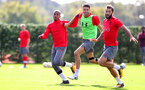 SOUTHAMPTON, ENGLAND - SEPTEMBER 28: L to R, Mario Lemina, Wesley Hoedt and Charlie Austin during a Southampton FC training session at the Staplewood Campus on September 28, 2017 in Southampton, England. (Photo by Matt Watson/Southampton FC via Getty Images)