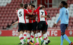 SOUTHAMPTON, ENGLAND - OCTOBER 16: Southampton's Marcus Barnes(centre) celebrates during the Premier League 2 match between Southampton U23 and Newcastle United U23, at St Mary's Stadium on October 16, 2017 in Southampton, England. (Photo by Matt Watson/Southampton FC via Getty Images)