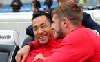 BRIGHTON, ENGLAND - OCTOBER 29: Southampton's Maya Yoshida and Jack Stephens ahead of the Premier League match between Brighton and Hove Albion and Southampton at the Amex Stadium on October 29, 2017 in Brighton, England. (Photo by Matt Watson/Southampton FC via Getty Images)