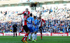BRIGHTON, ENGLAND - OCTOBER 29: Southampton's Oriol Romeu jumps highest but cannot get on the end of a corner during the Premier League match between Brighton and Hove Albion and Southampton at the Amex Stadium on October 29, 2017 in Brighton, England. (Photo by Matt Watson/Southampton FC via Getty Images)