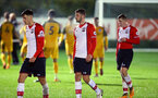SOUTHAMPTON, ENGLAND - OCTOBER 30: LtoR Alfie Jones, Jack Stephens, Matt Target post match for the U23's match between Southampton and Brighton & Hove Albion at Staplewood Campus on October 30, 2017 in Southampton, England. (Photo by James Bridle/Southampton FC via Getty Images)