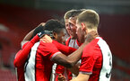 SOUTHAMPTON, ENGLAND - DECEMBER 14: Michael Obafemi scores (Left) during the match between Southampton FC vs Wolverhampton Wanders for the FA U18's Youth Cup on December 14, 2017 in Southampton, England. (Photo by James Bridle - Southampton FC/Southampton FC via Getty Images)