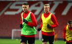 SOUTHAMPTON, ENGLAND - DECEMBER 14: LtoR Will Smallbone, Christoph Klarer of Southampton FC ahead of the match between Southampton FC vs Wolverhampton Wanders for the FA U18's Youth Cup on December 14, 2017 in Southampton, England. (Photo by James Bridle - Southampton FC/Southampton FC via Getty Images)