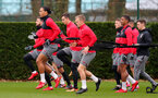 SOUTHAMPTON, ENGLAND - DECEMBER 20: Players warm up during a Southampton FC training session at Staplewood Complex on December 20, 2017 in Southampton, England. (Photo by Matt Watson/Southampton FC via Getty Images)