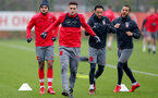 SOUTHAMPTON, ENGLAND - JANUARY 09: L to R Sofiane Boufal, Dusan Tadic, Nathan Redmond and Ryan Bertrand of Southampton FC during a training session at the Staplewood Campus on January 9, 2018 in Southampton, England. (Photo by Matt Watson/Southampton FC via Getty Images)