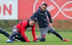 SOUTHAMPTON, ENGLAND - JANUARY 09: Maya Yoshida(L) and Ryan Bertrand of Southampton FC during a training session at the Staplewood Campus on January 9, 2018 in Southampton, England. (Photo by Matt Watson/Southampton FC via Getty Images)