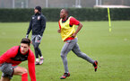 SOUTHAMPTON, ENGLAND - JANUARY 23: Michael Obafemi (middle) during an Southampton FC Training session on January 23, 2018 in London, England. (Photo by James Bridle - Southampton FC/Southampton FC via Getty Images)
