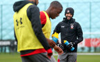 SOUTHAMPTON, ENGLAND - JANUARY 23: Nathan Redmon (right) during an Southampton FC Training session on January 23, 2018 in London, England. (Photo by James Bridle - Southampton FC/Southampton FC via Getty Images)