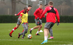 SOUTHAMPTON, ENGLAND - JANUARY 23: Michael Obaemi (left) during an Southampton FC Training session on January 23, 2018 in London, England. (Photo by James Bridle - Southampton FC/Southampton FC via Getty Images)