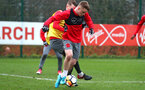 SOUTHAMPTON, ENGLAND - JANUARY 23: Steven Davis takes on Jake Hesketh during an Southampton FC Training session on January 23, 2018 in London, England. (Photo by James Bridle - Southampton FC/Southampton FC via Getty Images)